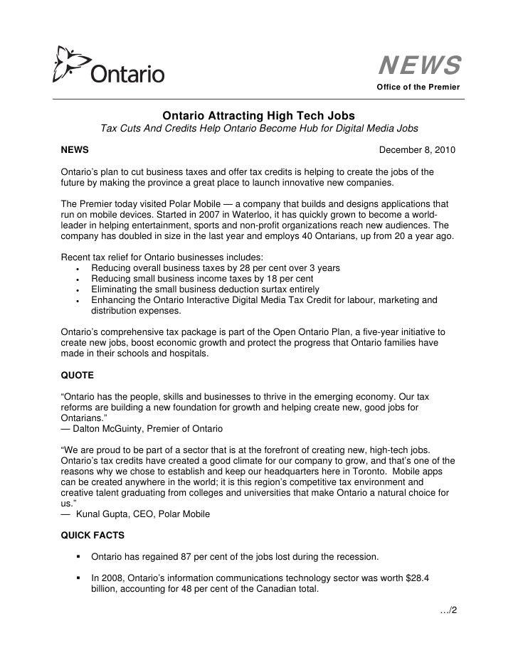 Premier Office Press Release
