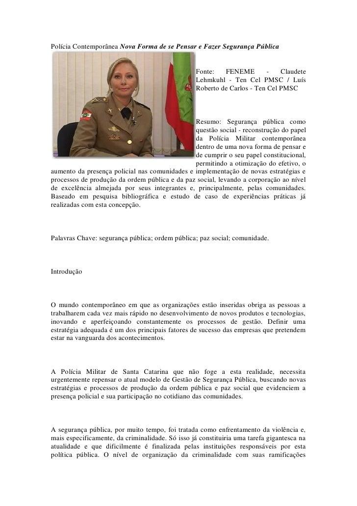 Polícia Contemporânea Nova Forma de se Pensar e Fazer Segurança Pública                                                   ...