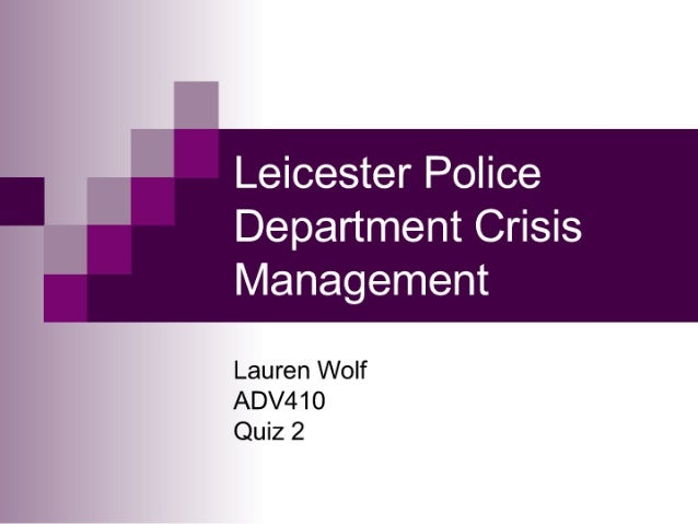 Police Department Crisis Management