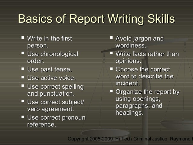 Report writing help and presentation skills training