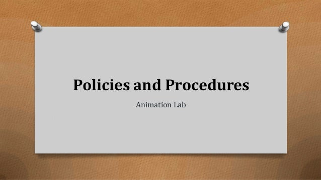 Policies and Procedures Animation Lab