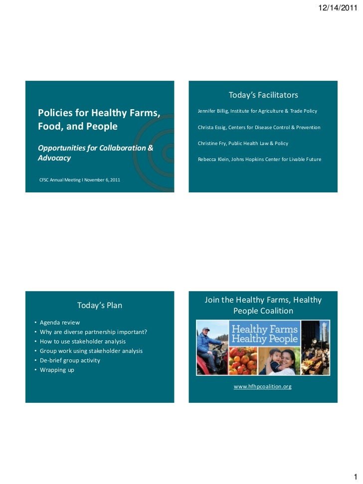 Policies for Healthy Farms, Food and People – Opportunities for Collaboration and Advocacy