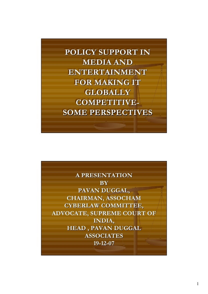 POLICY SUPPORT IN    POLICY SUPPORT IN       MEDIA AND        MEDIA AND    ENTERTAINMENT     ENTERTAINMENT      FOR MAKING...