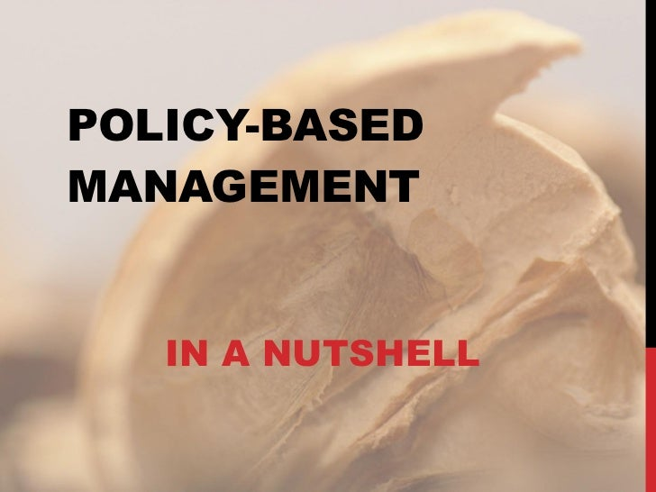 POLICY-BASED MANAGEMENT IN A NUTSHELL