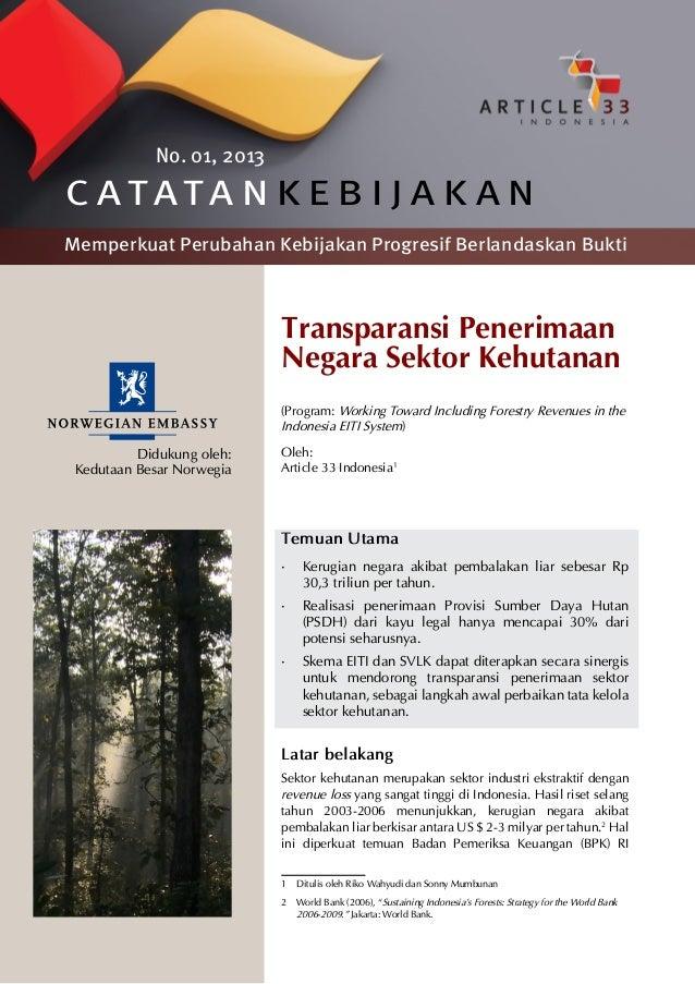 PB 01: Transparansi Penerimaan Negara Sektor Kehutanan