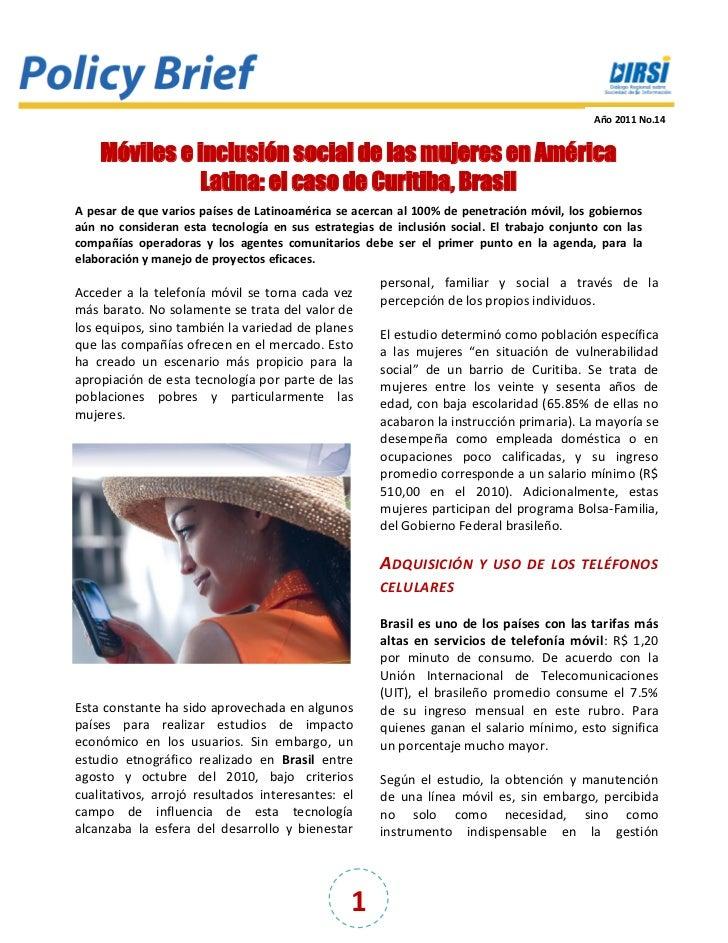 Año 2011 No.14    Móviles e inclusión social de las mujeres en América              Latina: el caso de Curitiba, BrasilA p...