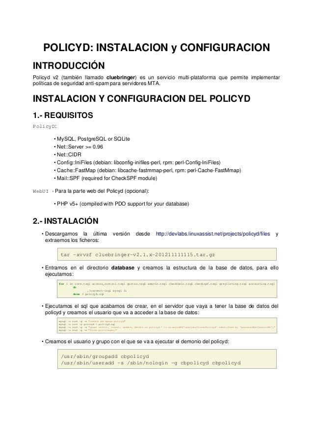 Policyd: Instalacion y configuracion