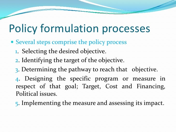 Policy formulation and processes