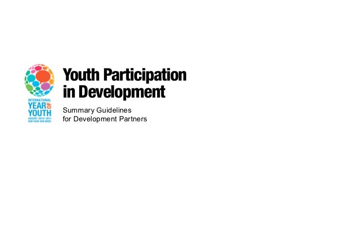 Youth Participationin DevelopmentSummary Guidelinesfor Development Partners