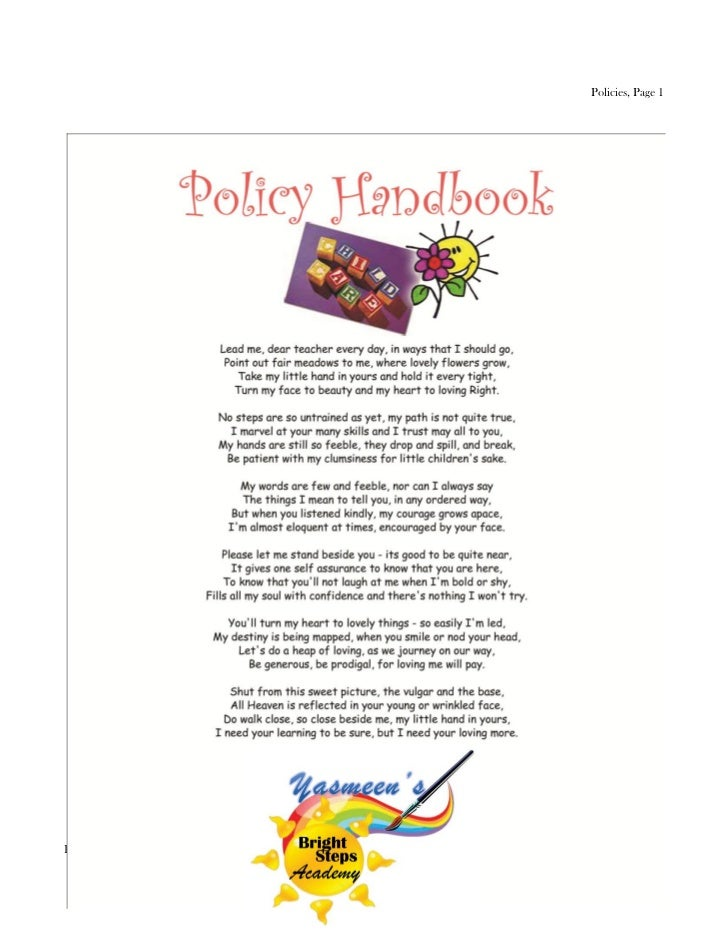 Policies, Page 1Parent Handbook, Revised 9/23/12