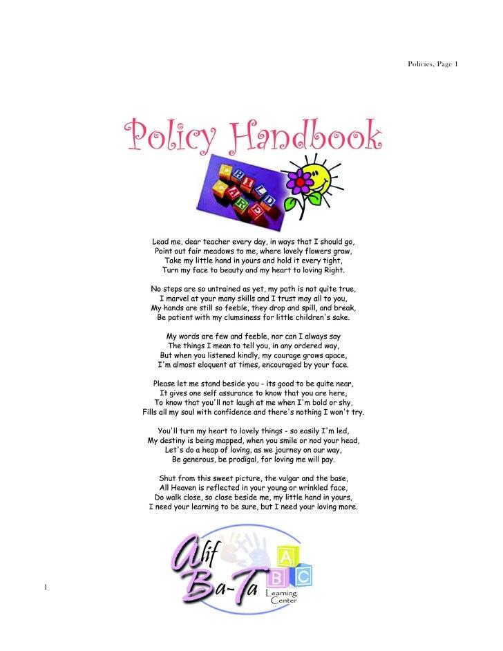 preschool policies and procedures policy handbook preschool 326