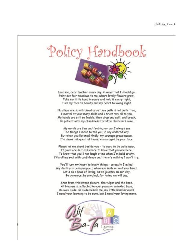 Policy handbook   preschool