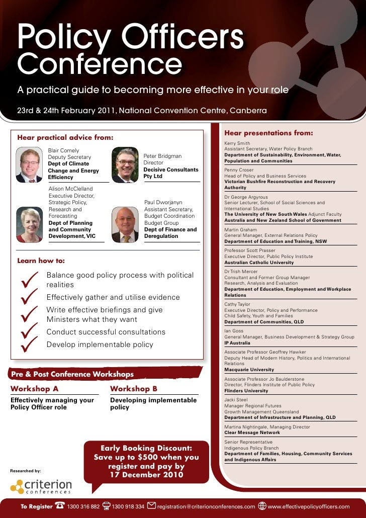 Policy Officers  Conference   A practical guide to becoming more effective in your role   23rd & 24th February 2011, Natio...