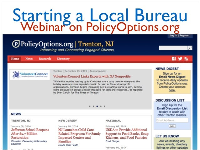 Starting a Local Bureau Webinar on PolicyOptions.org