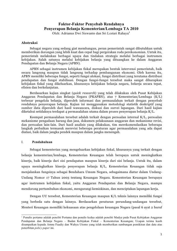 Faktor-Faktor Penyebab Rendahnya Penyerapan Belanja Kementerian / Lembaga 2010