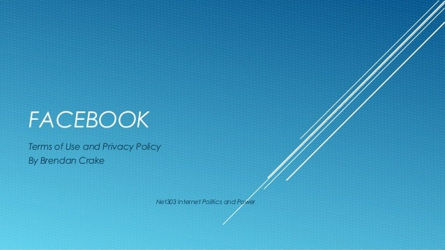 FACEBOOK Terms of Use and Privacy Policy By Brendan Crake  Net303 Internet Politics and Power