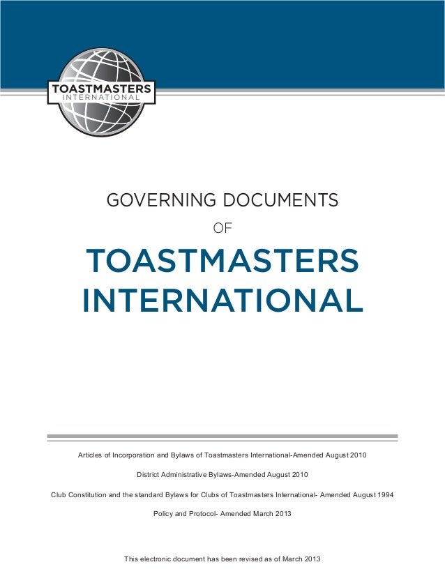 GOVERNING DOCUMENTS                                               OF        TOASTMASTERS        INTERNATIONAL        Artic...