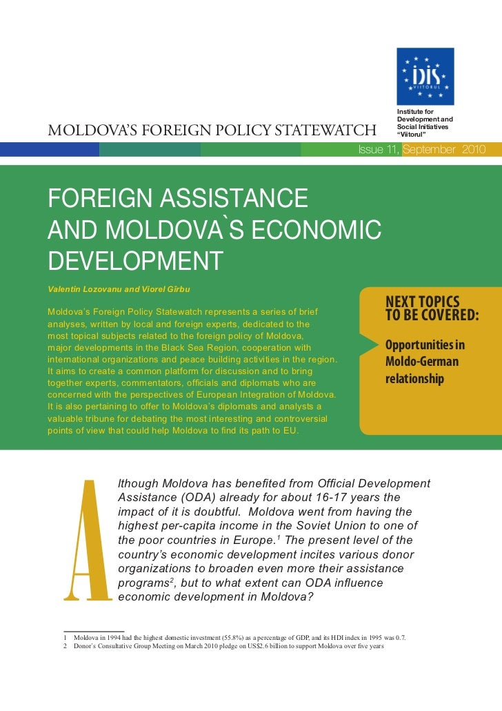 Foreign assistance and Moldova's economic development