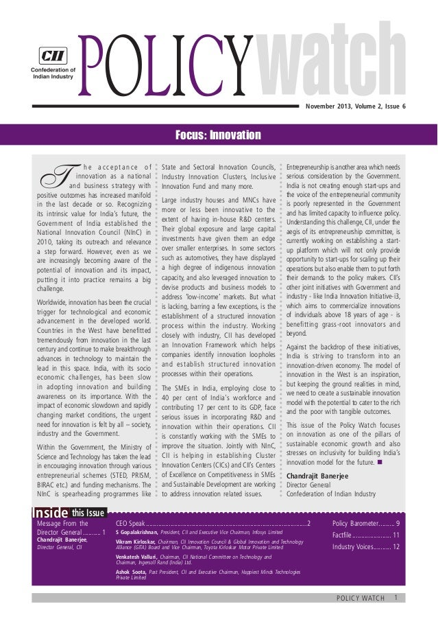 Policy    November 2013, Volume 2, Issue 6  Focus: Innovation  T   h e a c c e p t a n c e o f  innovation as a natio...