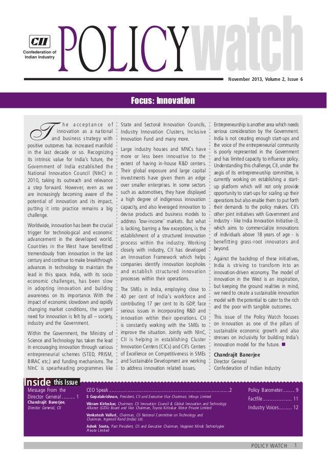 CII Policy Watch on Innovation