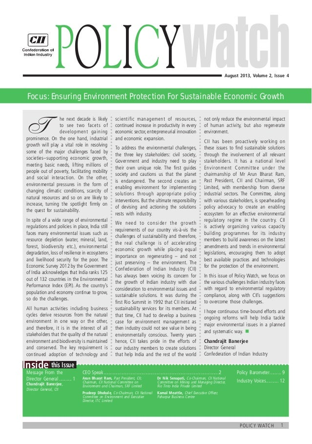1policy watch  this IssueInside Message From the Director General........... 1 Chandrajit Banerjee, Director General, CII...