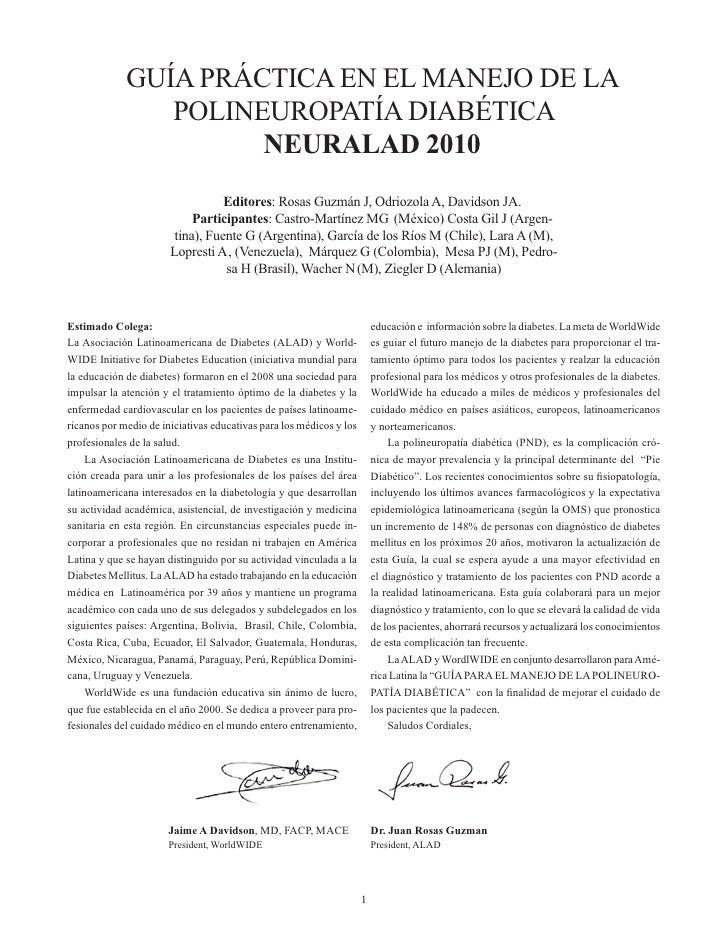GUÍA PRÁCTICA EN EL MANEJO DE LA                POLINEUROPATÍA DIABÉTICA                      NEURALAD 2010               ...