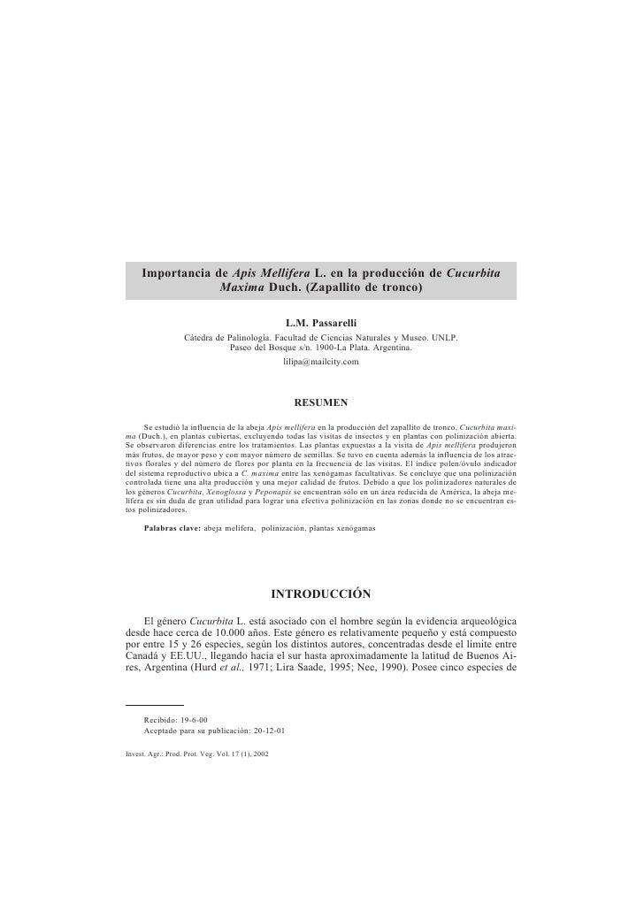 Importancia de Apis Mellifera L. en la producción de Cucurbita                  Maxima Duch. (Zapallito de tronco)        ...