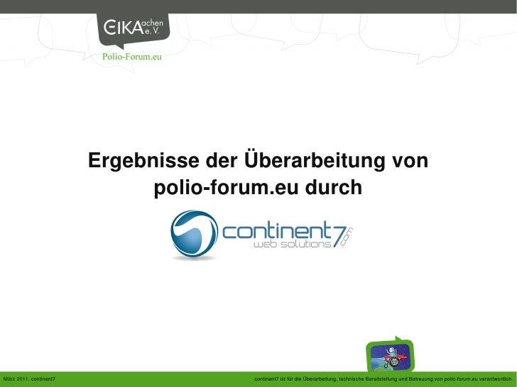 Ergebnisse der Überarbeitung von                              polio-forum.eu durchMärz 2011, continent7                  c...
