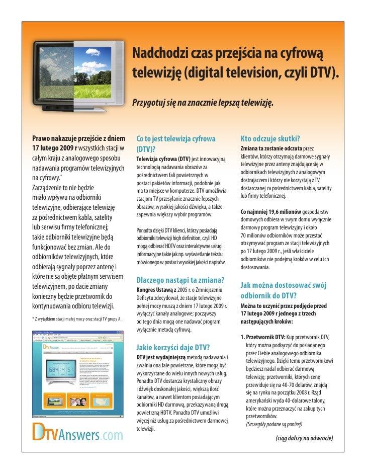 Nadchodzi czas przejścia na cyfrową                                                           telewizję (digital televisio...