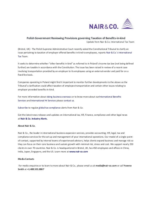 Polish Government Reviewing Provisions governing Taxation of Benefits-in-kind Update from Nair & Co. International Tax Tea...