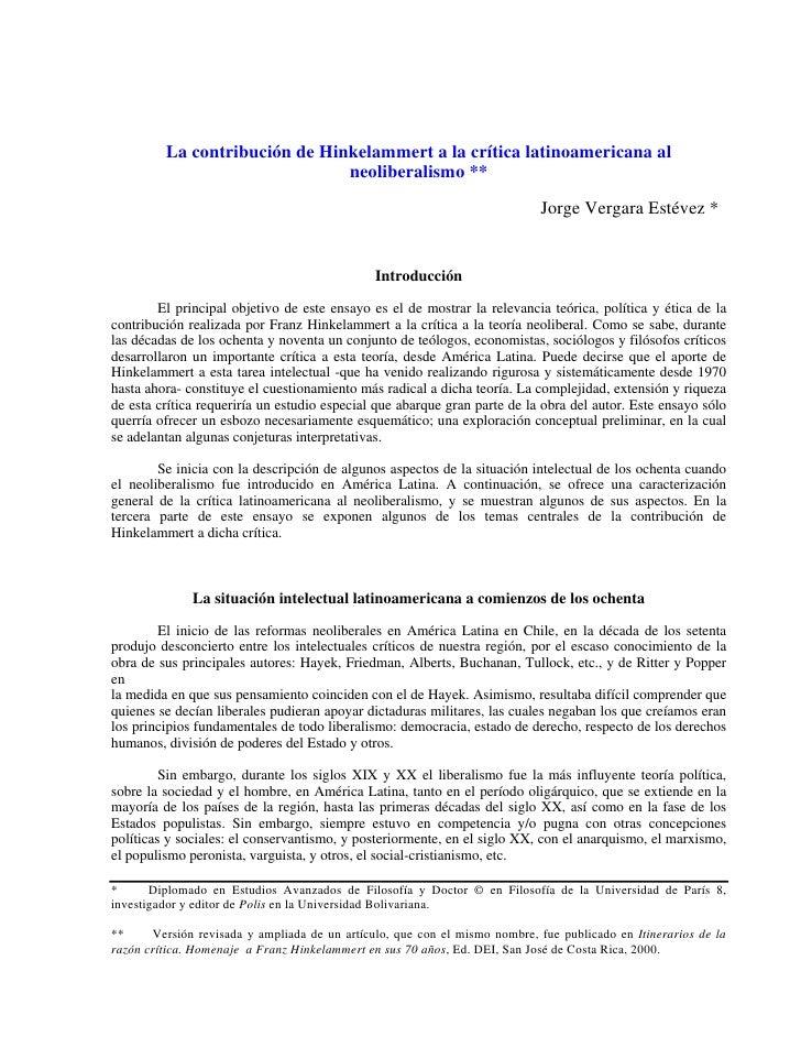 Revista Polis. Santiago de Chile. Neoiberalismo
