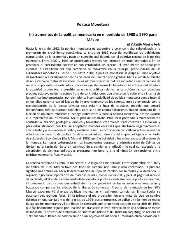 Politica monetaria en Mexico 1980 a 1990