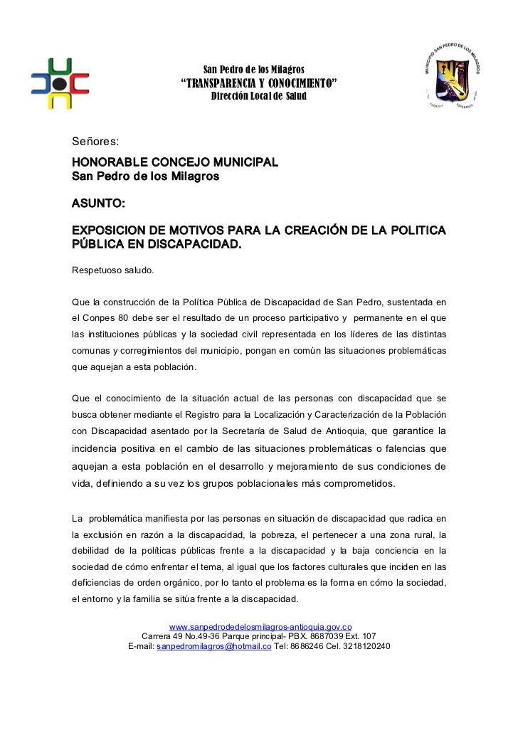 """San Pedro de los Milagros                              """"TRANSPARENCIA Y CONOCIMIENTO""""                                     ..."""