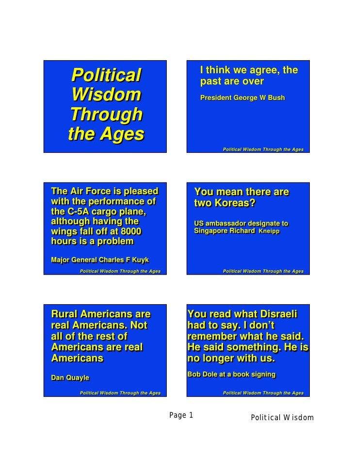 Political wisdom through the Ages