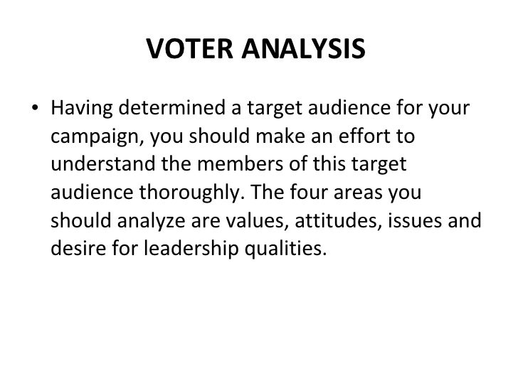 VOTER ANALYSIS  <ul><li>Having determined a target audience for your campaign, you should make an effort to understand the...