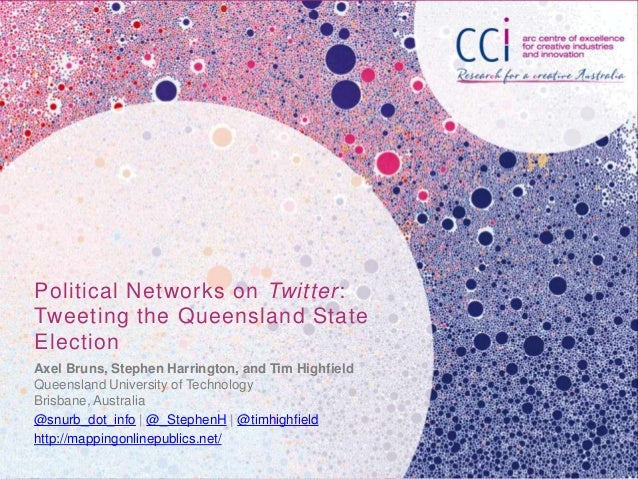 Political Networks on Twitter:Tweeting the Queensland StateElectionAxel Bruns, Stephen Harrington, and Tim HighfieldQueens...