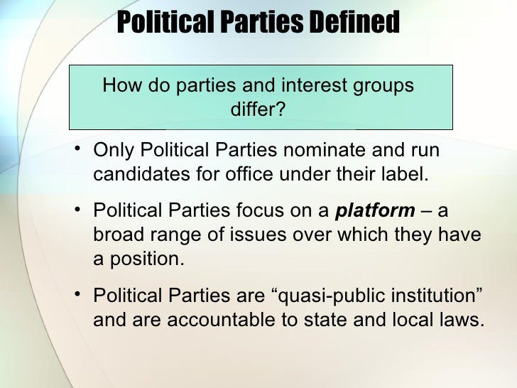 an analysis of the political parties and interest groups