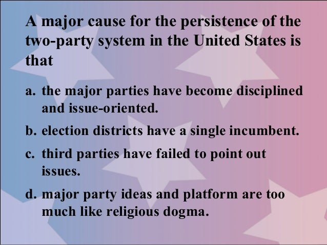 essay on political parties in america In a gallup poll from last year 60 percent of the respondents said they wanted  new political parties this disgust for the status quo is why voters.