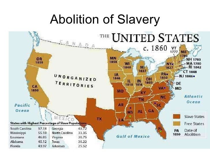 the abolition of slavery in america Ask your students what event led up to the abolition of slavery in the united states answer:  american slavery was concentrated in the years leading up to the civil war ask your students if.