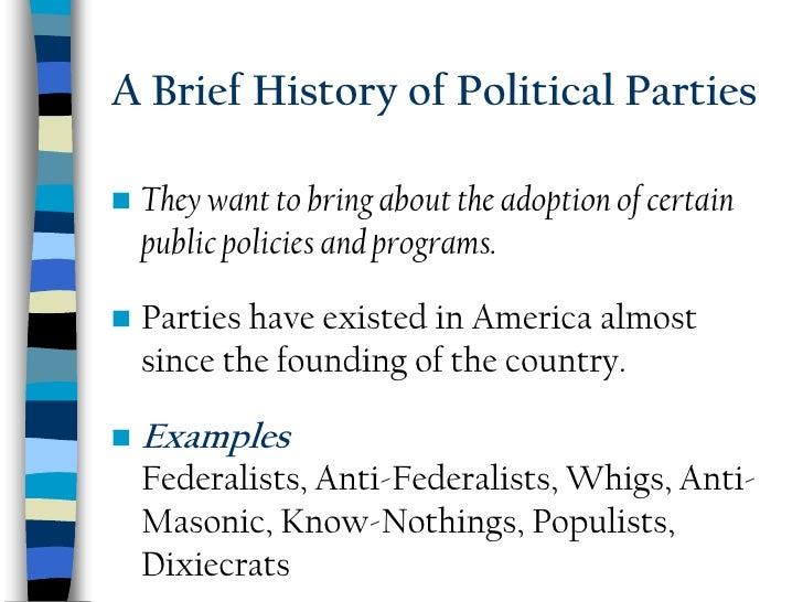 political party history Charting the flow of political power, this history of the political parties print translates the first 100 years of our political history into a single visual picture.