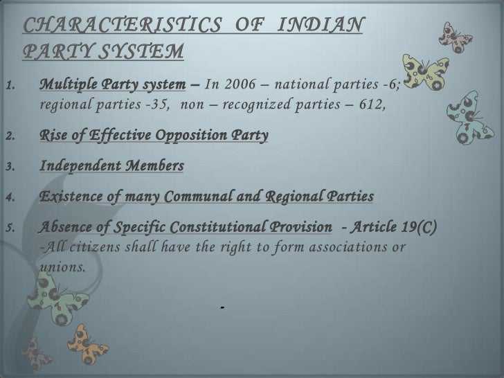 essay political parties in india In the united states there is a two-party political system that is comprised of the republican party and the democratic party since 1852, either one of the parties have won during every election party.