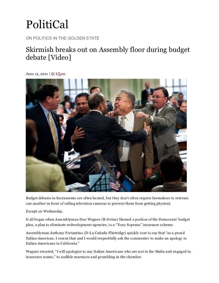 Politi cal skirmish on assembly floor