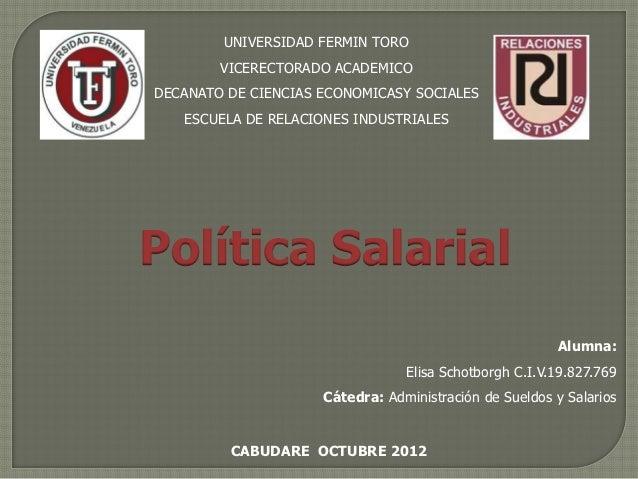 UNIVERSIDAD FERMIN TORO        VICERECTORADO ACADEMICODECANATO DE CIENCIAS ECONOMICASY SOCIALES   ESCUELA DE RELACIONES IN...