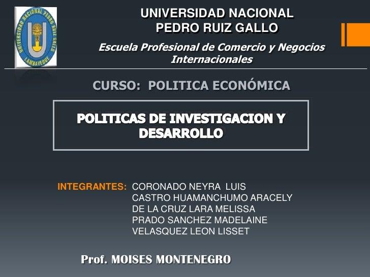 Politicas de investigacion y desarrollo