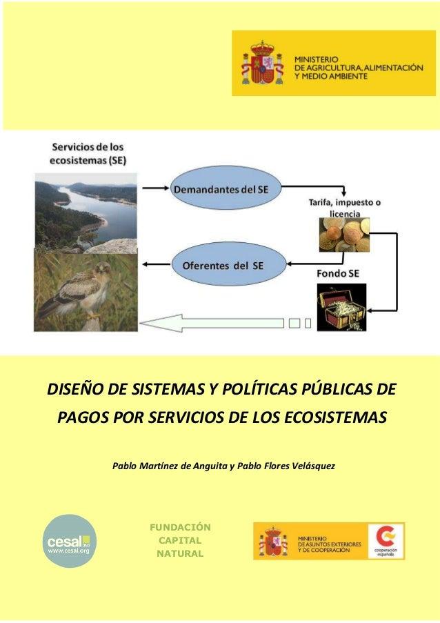 DISEÑO DE SISTEMAS Y POLÍTICAS PÚBLICAS DE PAGOS POR SERVICIOS DE LOS ECOSISTEMAS Pablo Martínez de Anguita y Pablo Flores...