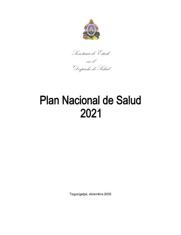 Secretaría de Estado en el Despacho de Salud Tegucigalpa, diciembre 2005
