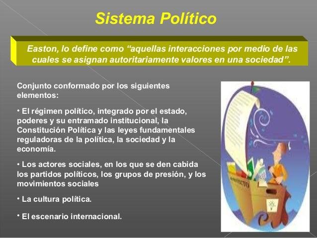 """Sistema Político   Easton, lo define como """"aquellas interacciones por medio de las    cuales se asignan autoritariamente v..."""
