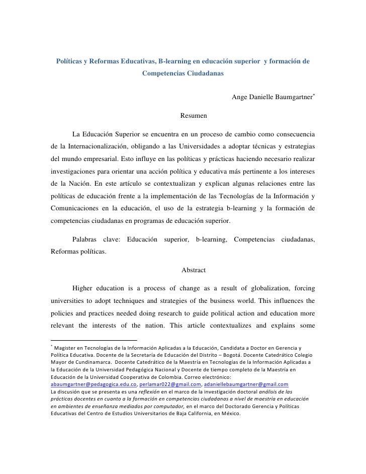 Políticas y Reformas Educativas, B-learning en educación superior y formación de                                     Compe...