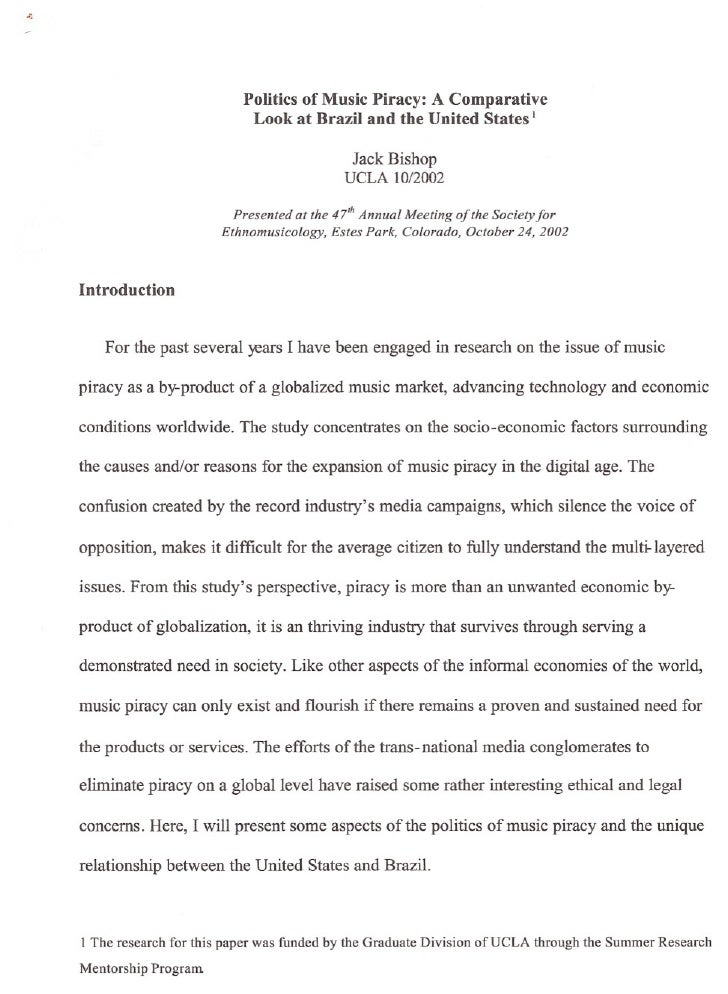 Politics of Music Piracy: A Comparative                           Look at Brazil and the United States I                  ...