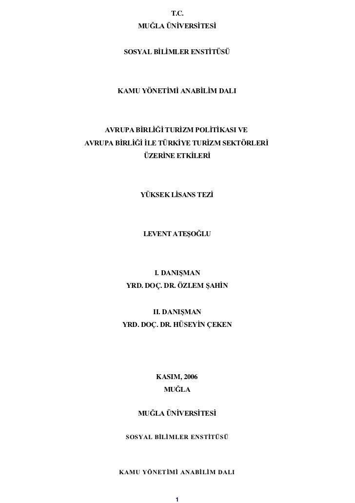 T.C.            MUĞLA ÜNİVERSİTESİ         SOSYAL BİLİMLER ENSTİTÜSÜ        KAMU YÖNETİMİ ANABİLİM DALI    AVRUPA BİRLİĞİ ...